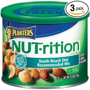 Planters NUT-rition Mix (Macademias, Cashews and Almonds), Lightly Salted, 9.75-Ounce Cans (Pack of 3)