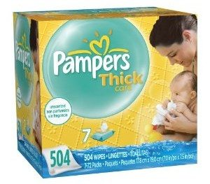 Pampers ThickCare Unscented 7X Wipes 504 Count