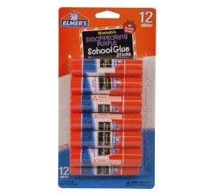 Elmer's School Glue Disappearing Purple Glue Sticks, 0.21 Ounces Each, 12 Sticks per Pack (E1559)