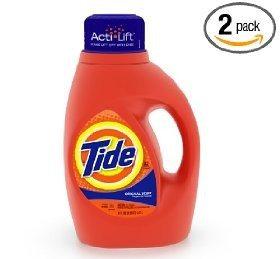 Tide Original Scent with ActiLift, 32-Load Bottles (Pack of 2) [Frustration- Free Packaging]