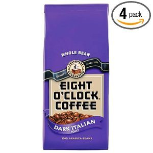 Eight O'Clock Coffee, Dark Italian Roast Whole Bean, 11.5-Ounce Bag (Pack of 4)
