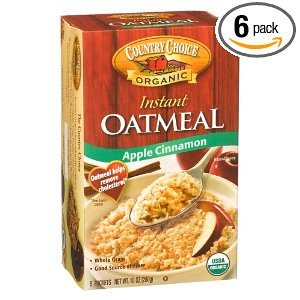 Country Choice Organic Instant Oatmeal, Apple Cinnamon, 8-Count, 10-Ounce Boxes (Pack of 6)