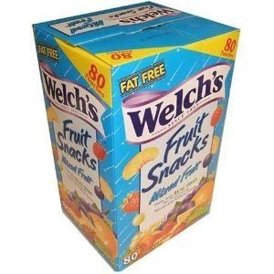 Welch's Fruit Snacks, Mixed Fruit, Fat Free Snacks, (80-0.9oz. Pouches Per Box)