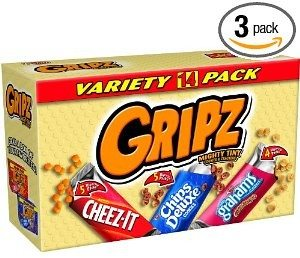 Gripz Variety Pack (Cheez-It, Chips Deluxe, Grahams Cinnamon), 14-Count Boxes (Pack of 3)