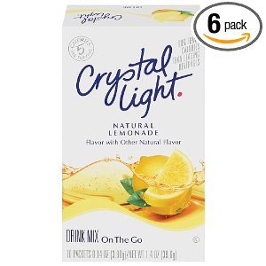 Crystal Light On The Go Natural Lemonade, 10 Count Packets (Pack of 6)