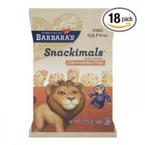 Barbara's Bakery Snackimals Chocolate Chip Animal Cookies, 2.125-Ounce Bags (Pack of 18)