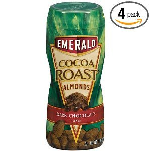 Emerald Cocoa Roast Almonds, Dark Chocolate, 11oz Canister (Pack of 4)