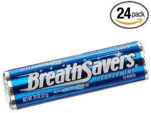 BreathSavers Peppermint Mints, 0.75-Ounce Rolls (Pack of 24)