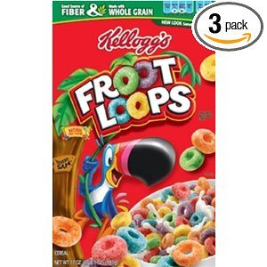 Froot Loops   Cereal, Sweetened Multigrain, 17-Ounce Boxes (Pack of 3)