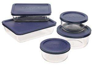 Pyrex 6021224 Storage 10-Piece Set, Clear with Blue Lids Deal