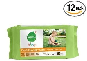 Seventh Generation Baby Wipes Refills, Chlorine Free and Unscented, 70-Count Packs (Pack of 12) (840 Wipes) Deal