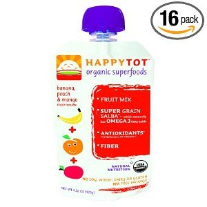 HAPPYTOT Organic Superfoods for Tots, Banana, Mango & Peach, 8 - 4.22 Ounce Pouches per Box,  (Pack of 2) Deal