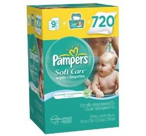 Pampers SoftCare Unscented Wipes 10x Box with Tub 720 Count Deal