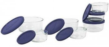 Pyrex 6022369 Storage 14-Piece Round Set, Clear with Blue Lids Deal