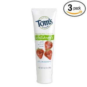 Tom's of Maine Fluoride Free Children's Toothpaste, Silly Strawberry, 4.2-Ounce (Pack of 3) Deal