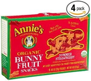 Annie's Homegrown Summer Strawberry Organic Bunny Fruit Snacks, 4-Ounce Boxes (Pack of 4) Deal
