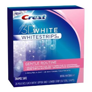 Crest 3D White Whitestrips Gentle Routine Enamel Safe Dental Whitening Kit, 28-count Carton Deal