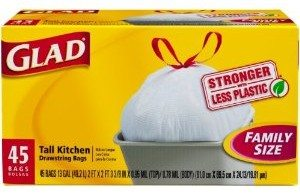 Glad Tall Kitchen Drawstring, White, 13 Gallon, 45 Count Deal