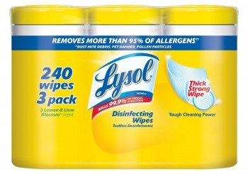 Lysol Disinfecting Wipes, Lemon and Lime Blossom, 80 Wet Wipe Containers, 3 Count Deal