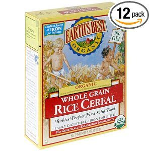 Earth's Best Organic Whole Grain Rice Cereal, 8-Ounce Box (Pack of 12) Deal