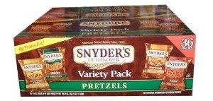 Snyders of Hanover 36 Bag Variety Pack Pretzel Snack Value Box Deal