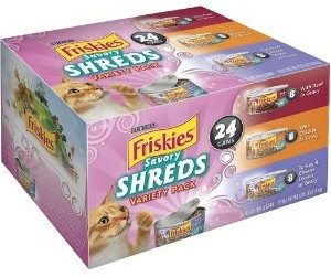 Friskies Savory Shreds Cat Food Variety Pack, 8.25-Pound Deal