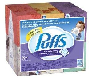 Puffs Ultra Soft and Strong Facial Tissues, 6 Pack of 124-Count Family Boxes (Packaging May Vary) Deal