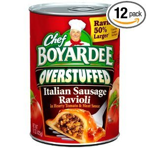 Chef Boyardee Big Overstuffed Italian Sausage Ravioli, 15-Ounce Cans (Pack of 12) Deal