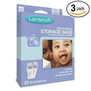 Lansinoh 20435 Breastmilk Storage Bags, 25-Count Boxes (Pack of 3) Deal