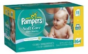 Pampers Softcare Unscented Wipes 12x Box with Tub, 864 Count Deal