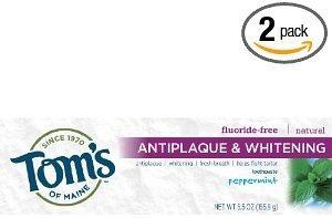 Tom's of Maine Antiplaque and Whitening Fluoride-free Toothpaste, Peppermint, 5.5-Ounce (Pack of 2) Deal
