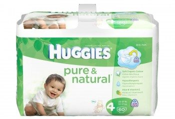 Huggies Pure & Natural Diapers, Size 4, 60 Count (Pack of 2) (Packaging May Vary) Deal