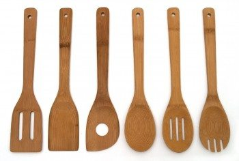 Lipper International 826 Set of 6 Bamboo Kitchen Tools, in Mesh Bag Deal