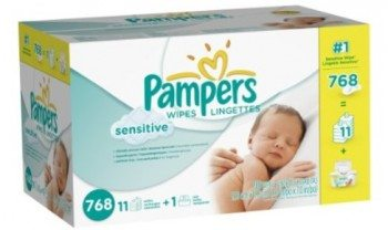 Pampers Sensitive Wipes 12x Box with Tub 768 Count Deal