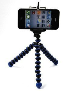 Case Star Octopus Style Portable and adjustable Tripod Stand Holder for iPhone, Cellphone ,Camera and Case Star Cellphone Bag-Blue and Black Deal