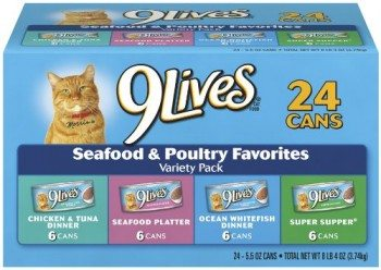 9Lives Seafood and Poultry Wet Cat Food Variety Pack 24 5.5-Ounce Cans Deal