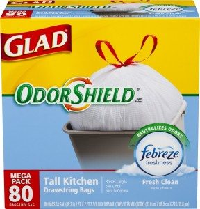 Glad OdorShield Tall Kitchen Drawstring Trash Bags, Fresh Clean, 13 Gallon, 80 Count Deal