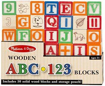 Melissa & Doug Deluxe 50-piece Wooden ABC-123 Blocks Set Deal