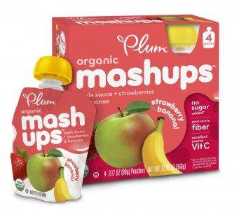 Plum Kids Organic Fruit Mashups, Apple Sauce Strawberry Banana, 4-Count Deal