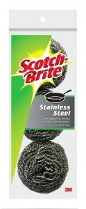 3M Scotch-Brite Stainless Steel Scouring Pad, 3-Pad Deal