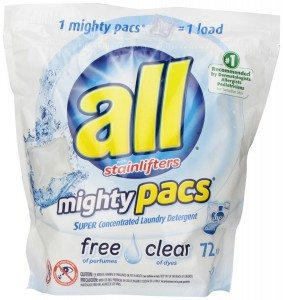 All Mighty Pacs Laundry Detergent, Free & Clear, 72 Pacs Deal
