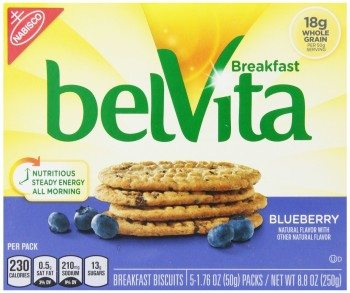 Belvita Breakfast Biscuit, Blueberry, 1.76 Ounce Package, 5 Count Deal