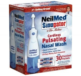 NeilMed Sinugator Cordless Pulsating Nasal Wash with 30 Premixed Packets dEAL