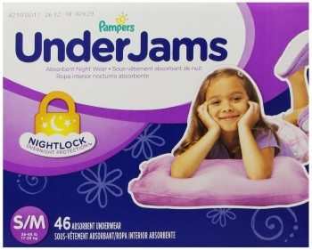 Pampers UnderJams Absorbent Nightwear Size 7, Big Pack Girl, 46 Count Deal