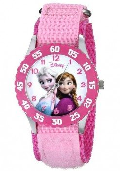 Disney Kids' W000970 Frozen Anna Snow Queen Stainless Steel Watch with Pink Nylon Band Deal