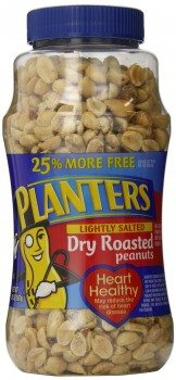 Planters Peanuts, Dry Roasted, Lightly Salted (Bonus Pack), 20-Ounce Packages (Pack of 2) Deal