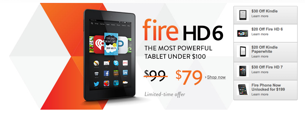 Amazon Kindle, Kindle Fire and Fire Phone Deals