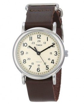 Timex Unisex T2N893 Weekender Watch with Leather Band Deal