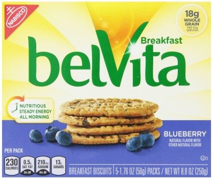Belvita Breakfast Biscuit, Blueberry, 1.76 Ounce Package, 5 Count, (Pack of 3) Deal