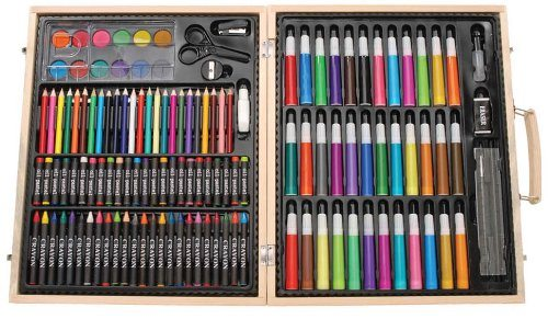Darice ArtyFacts Portable Art Studio, 131-Piece Deluxe Art Set With Wood Case deal